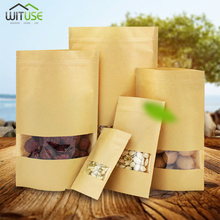 10pcs Brown Kraft Paper Gift Candy Bags Wedding Packaging Bag Recyclable Food Bread Party Shopping For Boutique Zip Lock