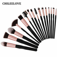CHILEELOVE 16 Pcs/Set Rose Golden Makeup Brushes Kit with Make Up Bag Cosmetic Makeover For Foundation Blending Blush Eyeshadow