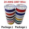 60 м/лот UL 1007 24AWG 6 цветов P1 или P2 Электрический провод, провод из луженой меди, PCB, UL сертификат, изолированный светодиодный кабель