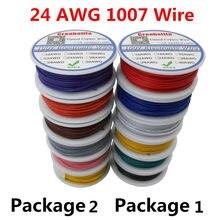 60 m/lote ul 1007 24awg 6 cores p1 ou p2 linha de cabo de fio elétrico de cobre estanhado pcb fio ul certificação isolado cabo led