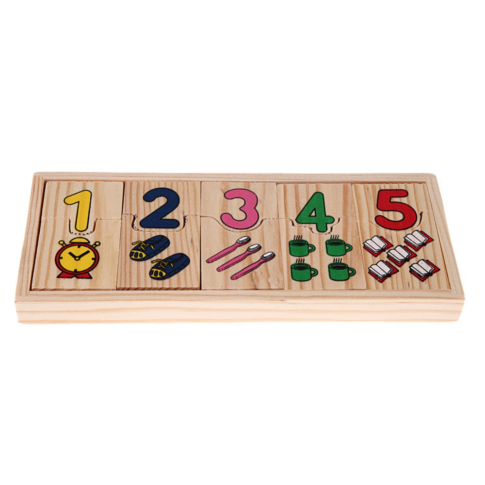 1Set Wooden Number Counting Matching Puzzle Toy Baby Preschool Educational Math Learning Toy K5BO