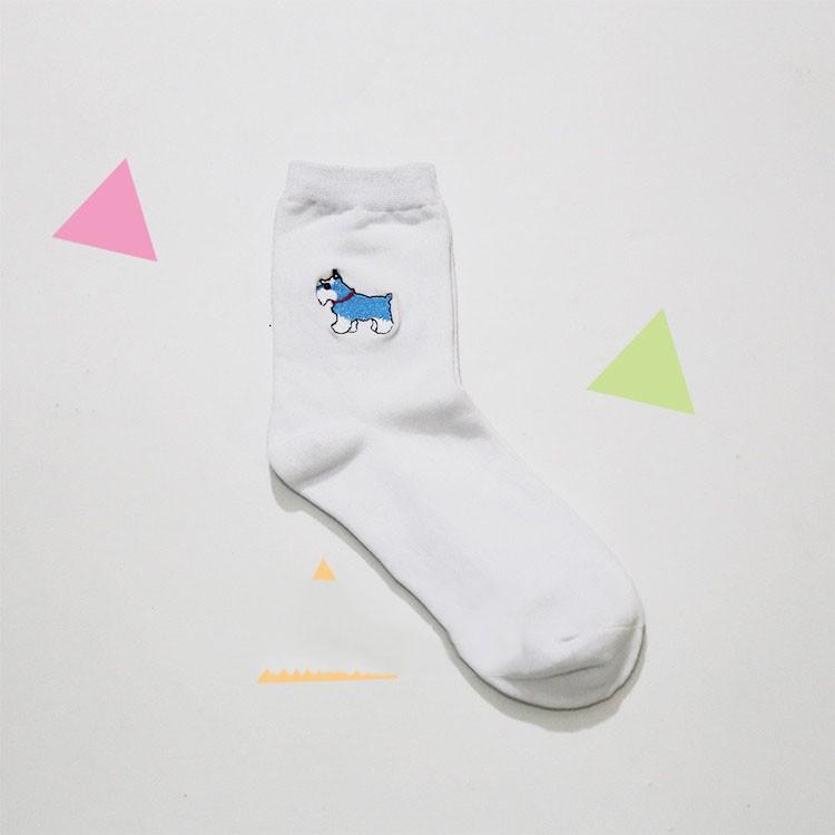cute animal husky embroidery women cotton white socks lovely dog Jacquard female pure color socks funny kawaii pug meias soks 9