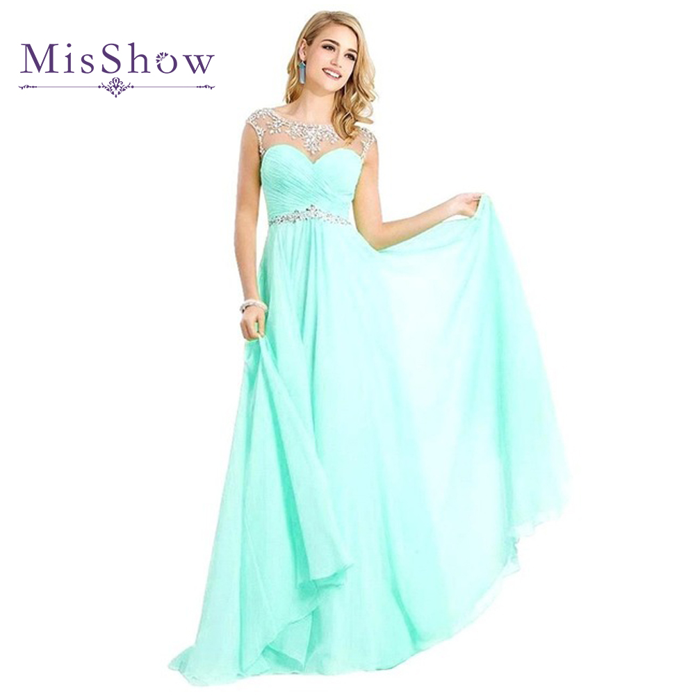 Vestido De Festa Robe de soiree Light Blue A Line Long Bridemaid Dresses 2019 Crystals Sheer Neck Chiffon Wedding Party Dress