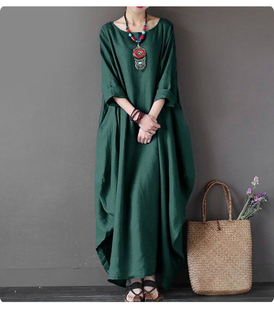 Kaftan Womens Maxi Dress Summer O Neck Long Sleeve Spring Cotton Linen Gown Robe Dresses Plus Size Large Size Dresses 2