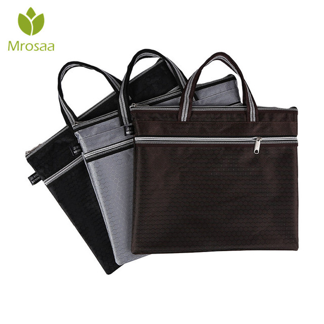 1pc Oxford Cloth File Folder Tote Bag Office Supplies Organizer Commercial Doent Handbag Zipper Pocket