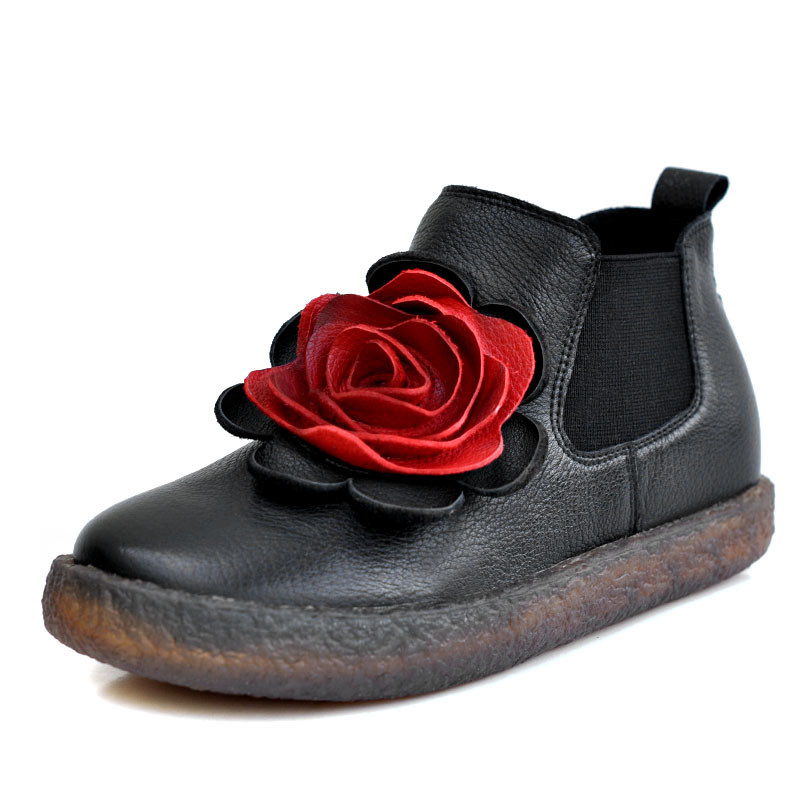 2017 Women Black Flower Ankle Boots Genuine Leather Soft Bottom Chelsea Boots Designer Handmade Women Winter Shoes Retro Fashion handmade soft bottom fashion tassels baby moccasin newborn babies shoes 18 colors pu leather prewalkers boots