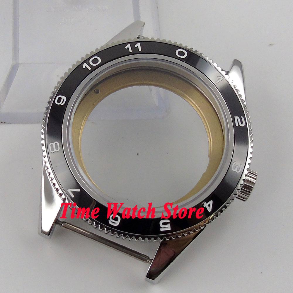 лучшая цена Fit ETA 2824 2836 movement 41mm black ceramic bezel sapphire glass 5ATM watch case 72