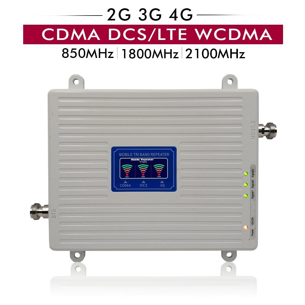 65dB Gain 20dBm LCD Display 2G 3G 4G Tri Band Booster CDMA 850+DCS/LTE 1800+UMTS WCDMA 2100 Cell Phone Signal Repeater Amplifier65dB Gain 20dBm LCD Display 2G 3G 4G Tri Band Booster CDMA 850+DCS/LTE 1800+UMTS WCDMA 2100 Cell Phone Signal Repeater Amplifier