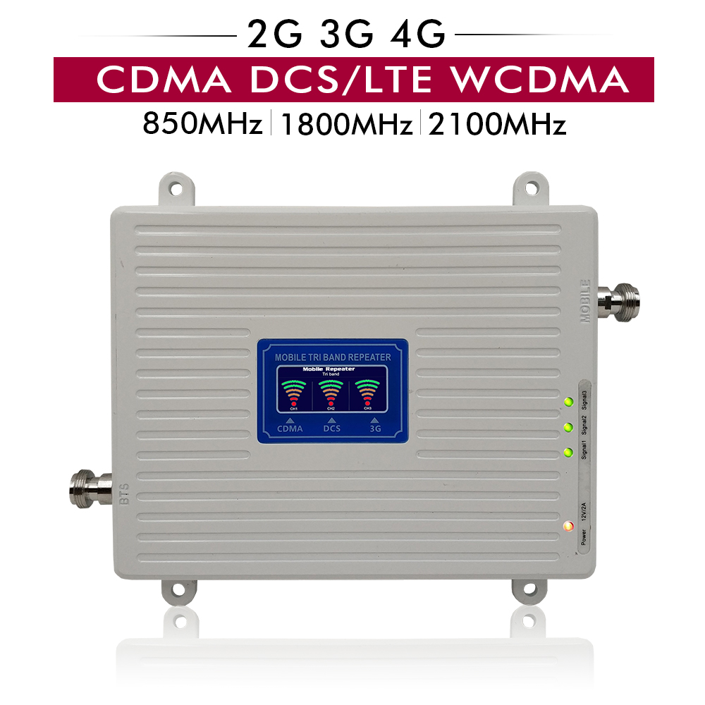 65dB Gain 20dBm LCD Display 2G 3G 4G Tri Band Booster CDMA <font><b>850</b></font>+DCS/LTE 1800+UMTS WCDMA <font><b>2100</b></font> Cell Phone Signal Repeater Amplifier image