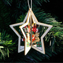 3D Chrismas Tree Star Pendants Hanging Wooden Christmas Decoration For Home Party Decor(China)