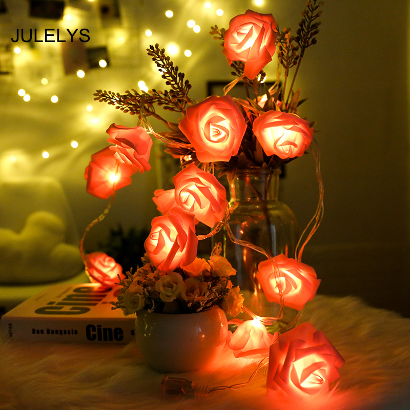 JULELYS 5M Rose LED Gerlyanda For Decor Christmas Garland String Lights Decoration For Wedding Holiday Party Birthday Home Room