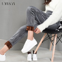 LXUNYI Autumn Winter Thicken Corduroy Pants Womens Elastic Waist Casual Pencil Pants Women Pockets Warm Classical Trousers Lady