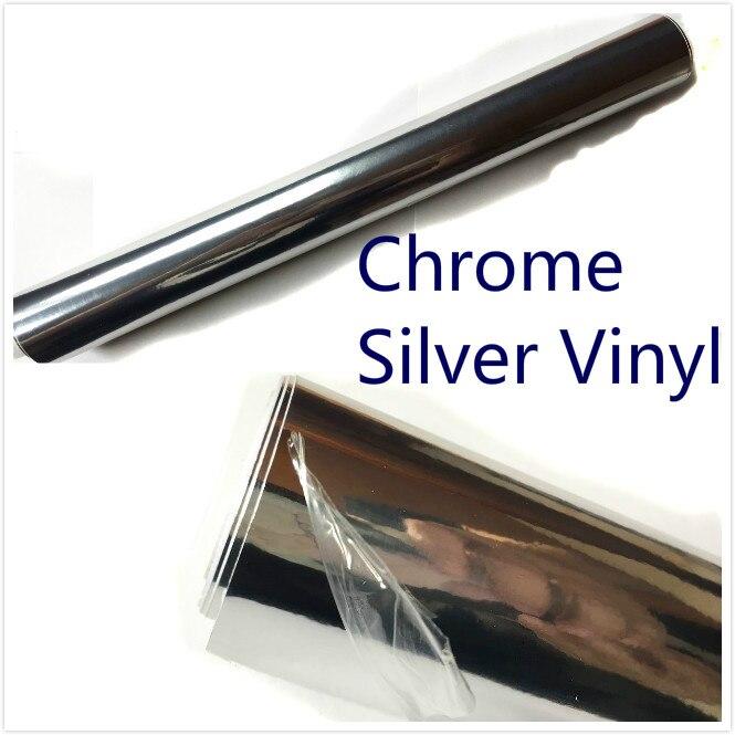600mm x 1520mm Argent Chromé Bulle D'air Libre Miroir Brillant Vinyle Wrap Film Autocollant Feuille De Voiture Style Moto Couvercle du corps
