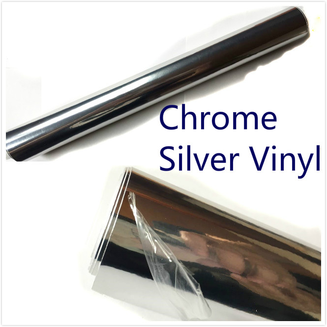 600mm x 1520mm Silver Chrom Air Bubble Free Mirror Glossy Vinyl Wrap Film Sticker Sheet Car Styling Motorcycle Body Cover