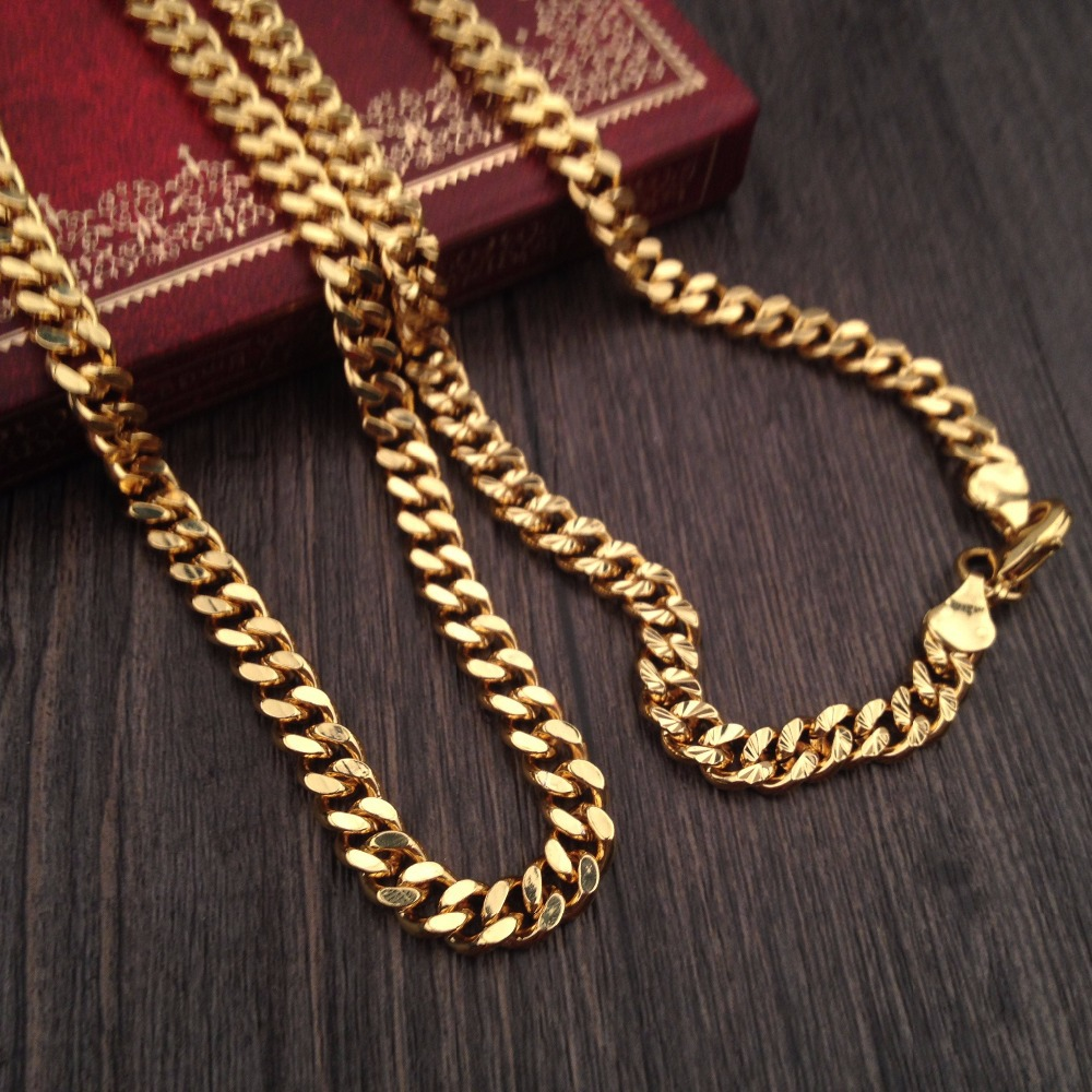 gold cuban ebay img yellow link mens curb itm solid chain necklace mm inches