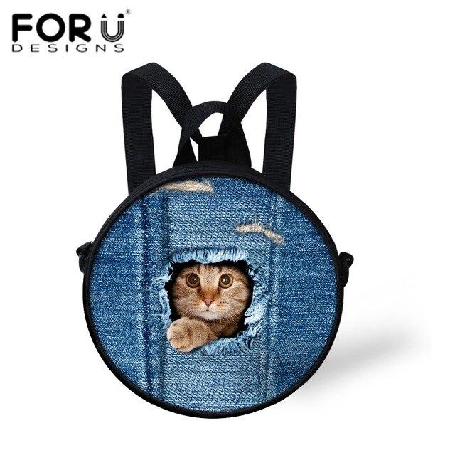 Kawaii Jeans Cat Backpack Kids Small Round Kindergarten Cheap ...
