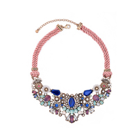 Colorful Crystal Flower Double Pink Rope Chain Short Necklace 2017 Vintage Statement Necklace Online Shopping India