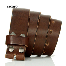 GFOHUO 3.8cm width Designers Luxury Brand Belts for Mens High Quality Pin Buckle Male Strap Genuine Leather Waistband,No Buckle