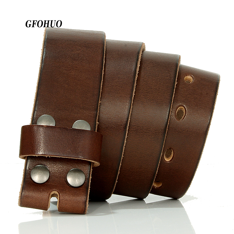 GFOHUO-ceinture en cuir véritable, avec boucle ardillon pour hommes, 3.8cm de largeur, stylistes de marque de luxe, sans boucle