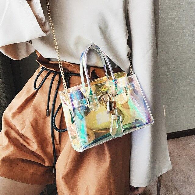 b0024c87b55 Hologramme sac transparent sac de plage en pvc transparent en plastique  emballages sac à main femmes