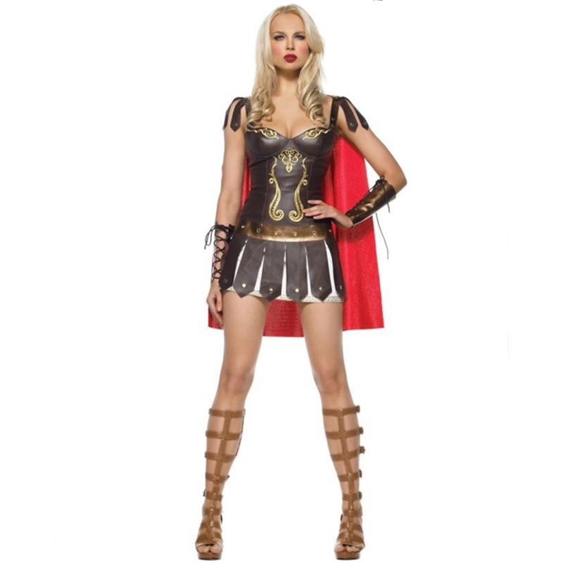 Adult Women Greek Rome Sparta Warrior Fancy Dress Halloween Princess Xena Gladiator Roman Centurian Costume