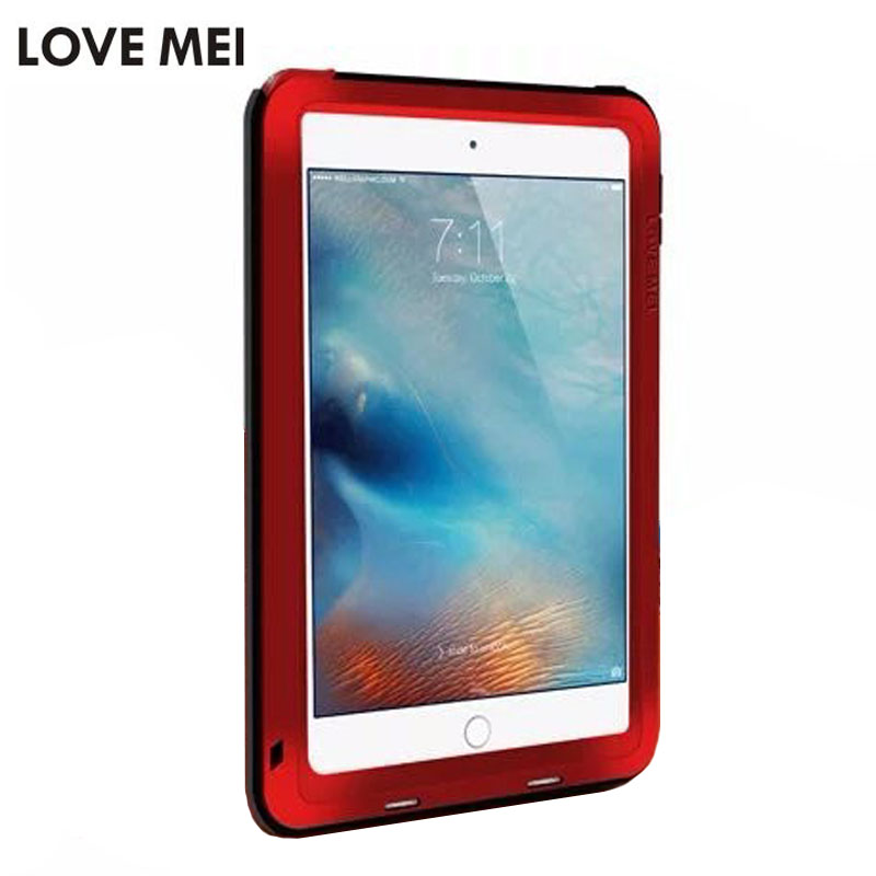все цены на Love Mei Metal Armor Case for iPad Mini 4 Aluminum Metal+Silicon Powerful Shockproof Dirtproof Cover for Ipad Mini 4 case fundas онлайн
