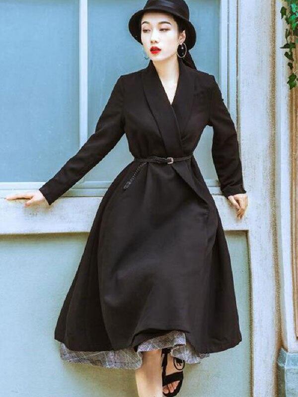 Women Black Flared Coat Long Sleeve V Neck Wrap Coat Belted Trench Coat