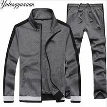 Для мужчин стенд воротник комплект из 2 частей L-7XL плюс Размеры Повседневное спортивный костюм осенняя куртка на молнии и штаны Панталоны костюм мужской одежды