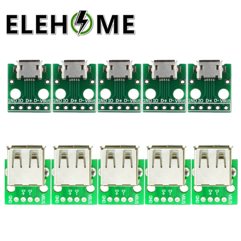 5/10pcs Type A Female <font><b>USB</b></font> to DIP 2.54MM <font><b>PCB</b></font> Board Adapter Converter /<font><b>Micro</b></font> <font><b>USB</b></font> to DIP 2.54mm Adapter <font><b>Connector</b></font> Module Board XF30 image