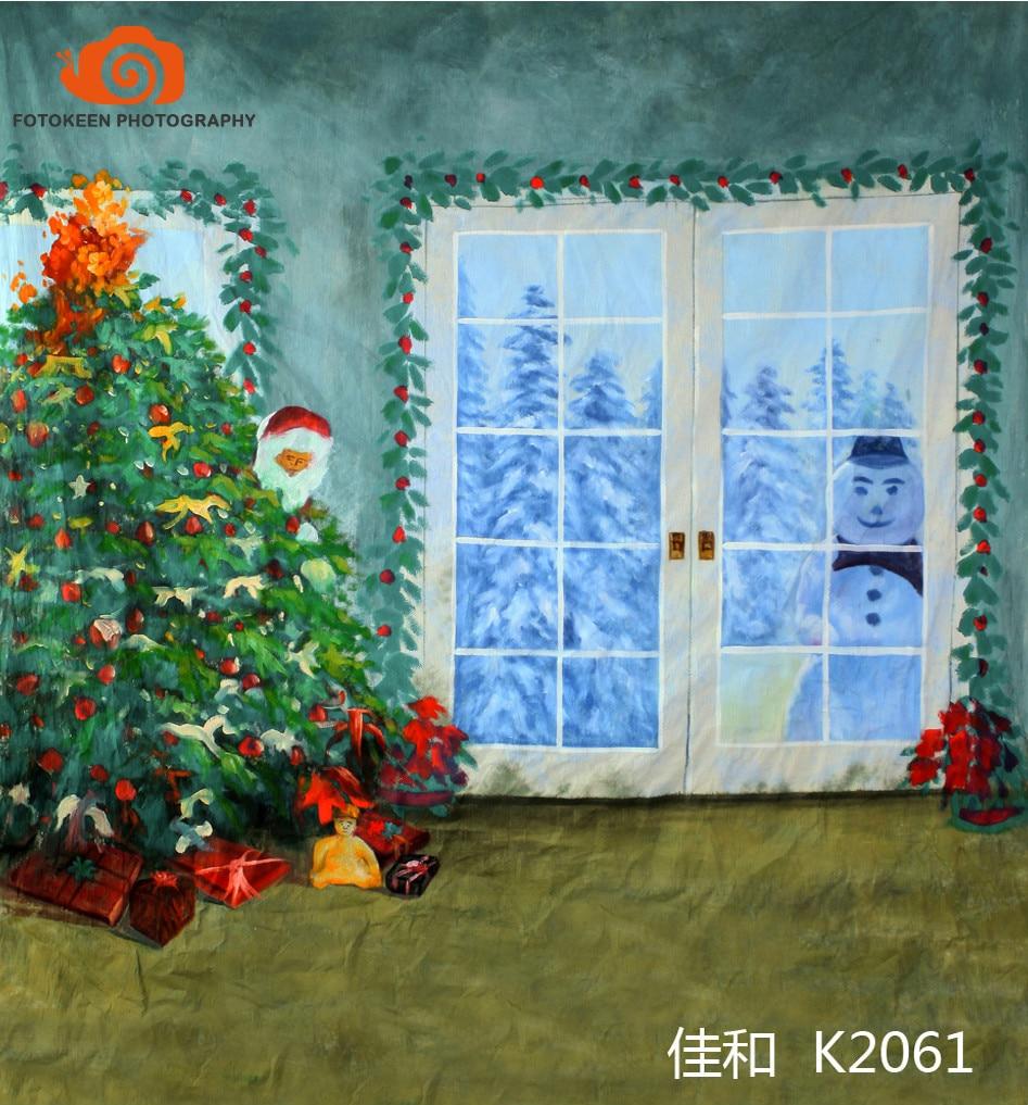 10X20ft Hand painted Muslin interior window photo backdrops,fotografia profissional,christmas tree photographic background K2061