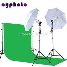 Acessórios de estúdio foto Fundo Suporte & 3 m x 6 m Verde Kit Suporte de Luz de iluminação de Fundo de tela Macia umberlla SET 2 pcs lâmpada