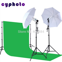 Yuguang Photography Lighting Soft umberlla 150W Lamp Bulbs Background Support & 3m x 6m Green Screen Backdrop Light Stand Kit