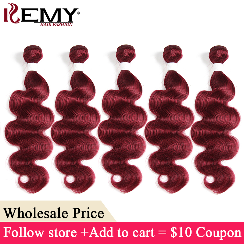 99J/Burgundy Brazilian Body Wave Hair Bundles KEMY HAIR Non-Remy Human Hair Extensions Wholesale Price Hair 3-7 Days to Deliver(China)