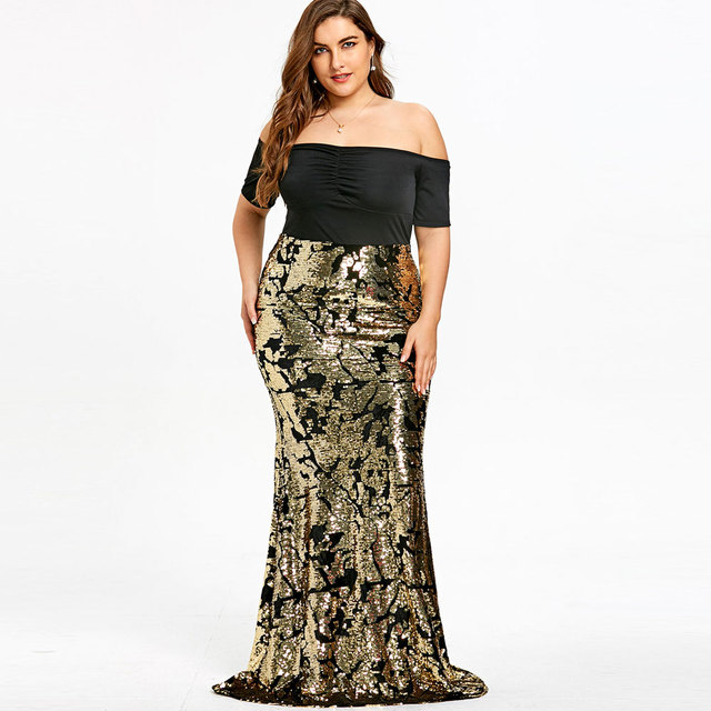 b4180f4664 ZAFUL Plus Size 5XL Off The Shoulder Sleeves Sequined Mermaid Dress Sexy  Party Sheath Long Dress Short Sleeves Formal Vestidos