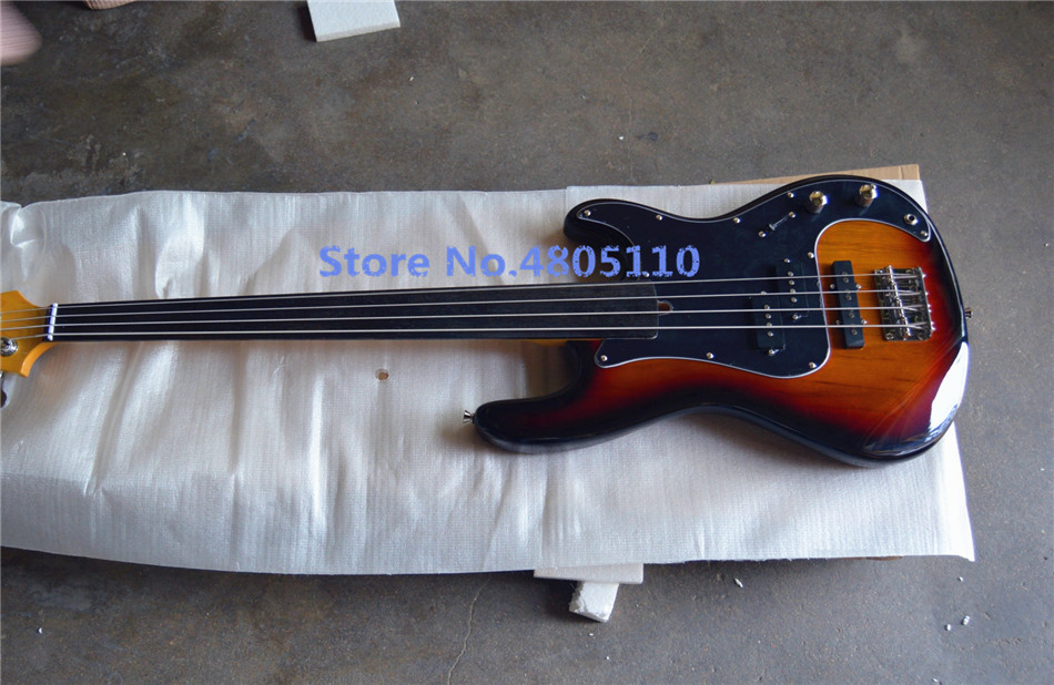 Guitare basse électrique 4 cordes de haute qualité et personnalisée, aucune plaque de protection noire ne peut être personnalisée au besoin
