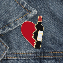2 unids/set Broken Heart Wine Bottle esmalte Pins moda amor broche para amantes Denim Chaquetas Metal insignia Pin mochila regalos de joyería(China)