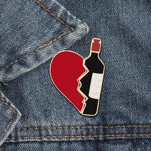 2 unids/set Broken Heart botella de vino esmalte Pins moda amor broche para amantes chaquetas de mezclilla placa de metal Pin mochila regalos de joyería