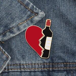 2pcs/set Broken Heart Wine Bottle Enamel Pins Fashion Love Brooch for Lover Denim Jackets Metal Badge Pin Backpack Jewelry Gifts(China)