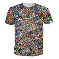 Новый мужской 3D Печатные Футболки Pokemon Go Животных Символов Графический Тис Повседневная Рубашка С Коротким Рукавом Homme Мужская Camisetas Топы
