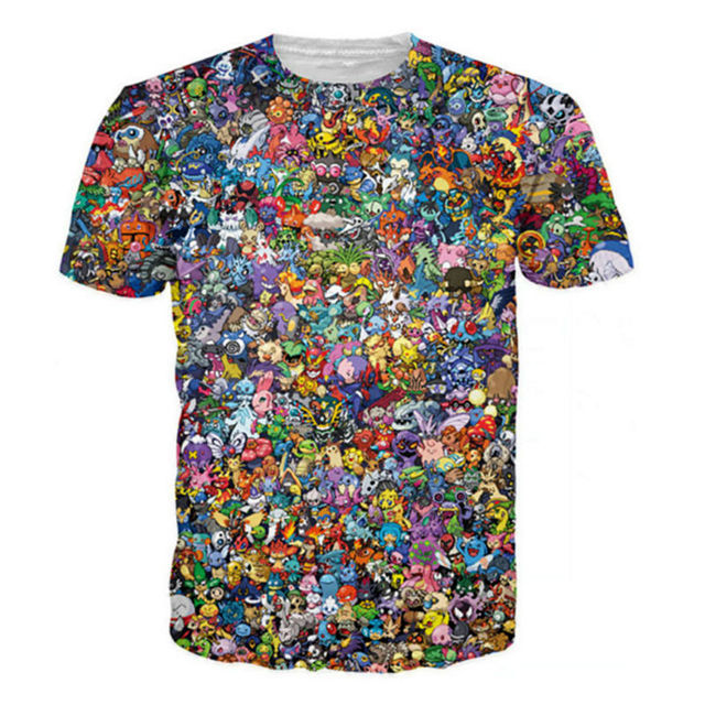8234b2ee86f96 Camisetas estampadas 3D de nuevo hombre Pokemon Go Animal personaje gráfico  Camisetas Casual manga corta Camisa