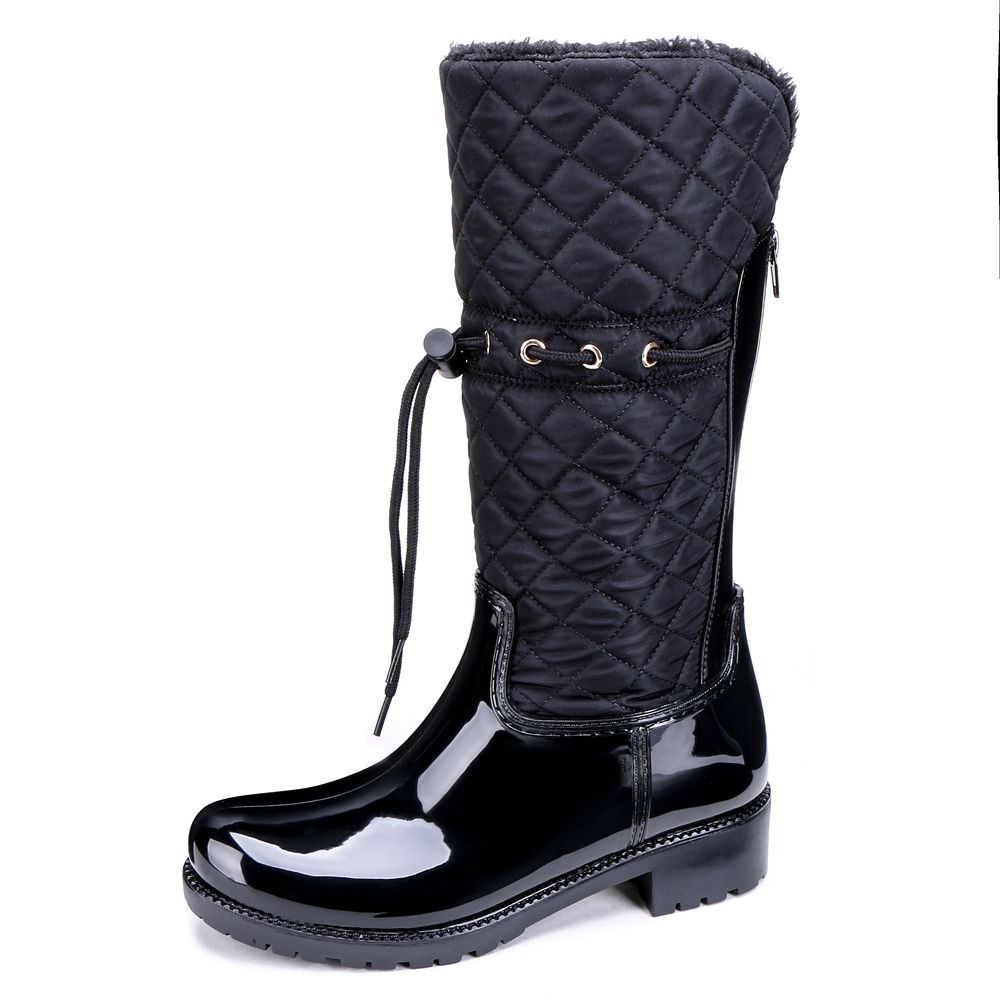 TONGPU Women's Mid-calf Winter Rain Boots Warm Plush Lining Fashion Design 20-784 double buckle cross straps mid calf boots