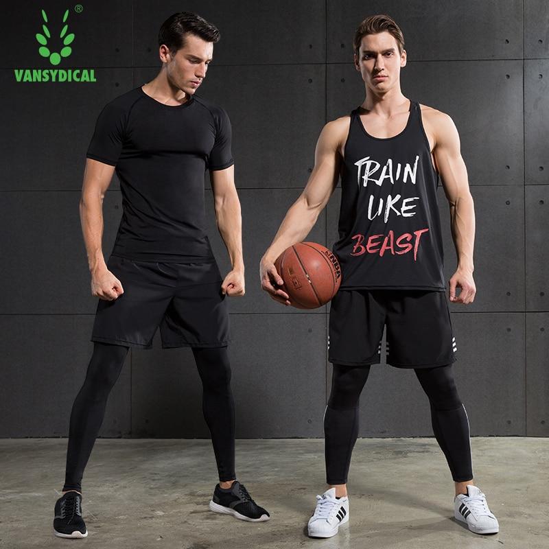 Баскетбол гимнастический костюм Мужчины с коротким рукавом спортивная Колготки тренажерный зал жилет леггинсы быстро высыхающая Спорт Фи...