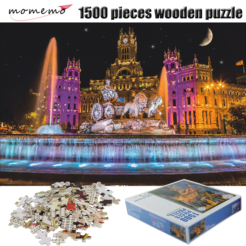 MOMEMO The Fountain Landscape <font><b>Jigsaw</b></font> <font><b>Puzzle</b></font> <font><b>1500</b></font> <font><b>Pieces</b></font> Adult Wooden <font><b>Puzzle</b></font> <font><b>1500</b></font> <font><b>Pieces</b></font> <font><b>Puzzles</b></font> Assembling Toys for Children image