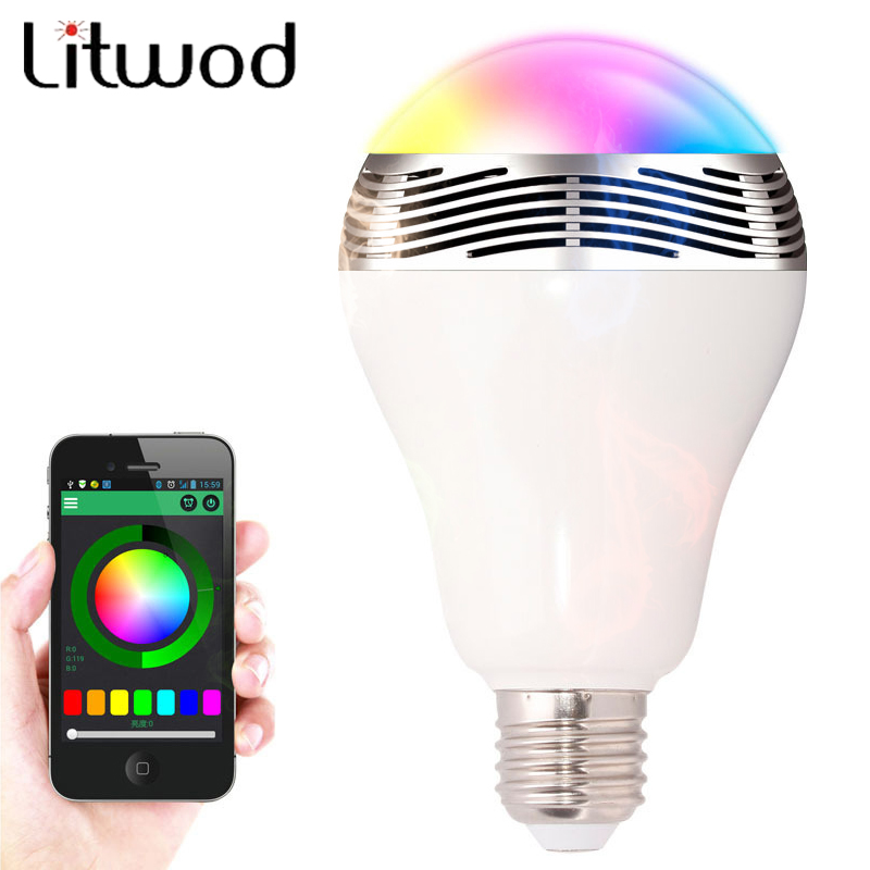 Newest Smart LED Bulb Light Wireless Bluetooth Speaker 110V - 240V E27 5W Lamp Audio Loudspeaker for Android ISO iPhone iPad kmashi led flame lamp night light bluetooth wireless speaker touch soft light for iphone android christmas gift mp3 music player