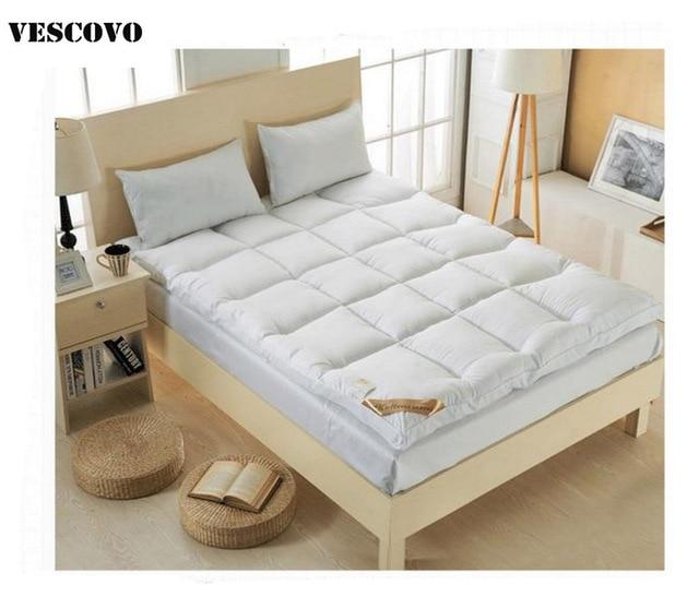 VESCOVO 10CM bed White folding luxury goose Down fiber Mattress Topper shell duck down fiber filling quilted