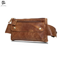Retro Oil Wax Crazy Horse Genuine Leather Waist Pack Men Genuine Leather Cowhide Handmade Fashion Casual