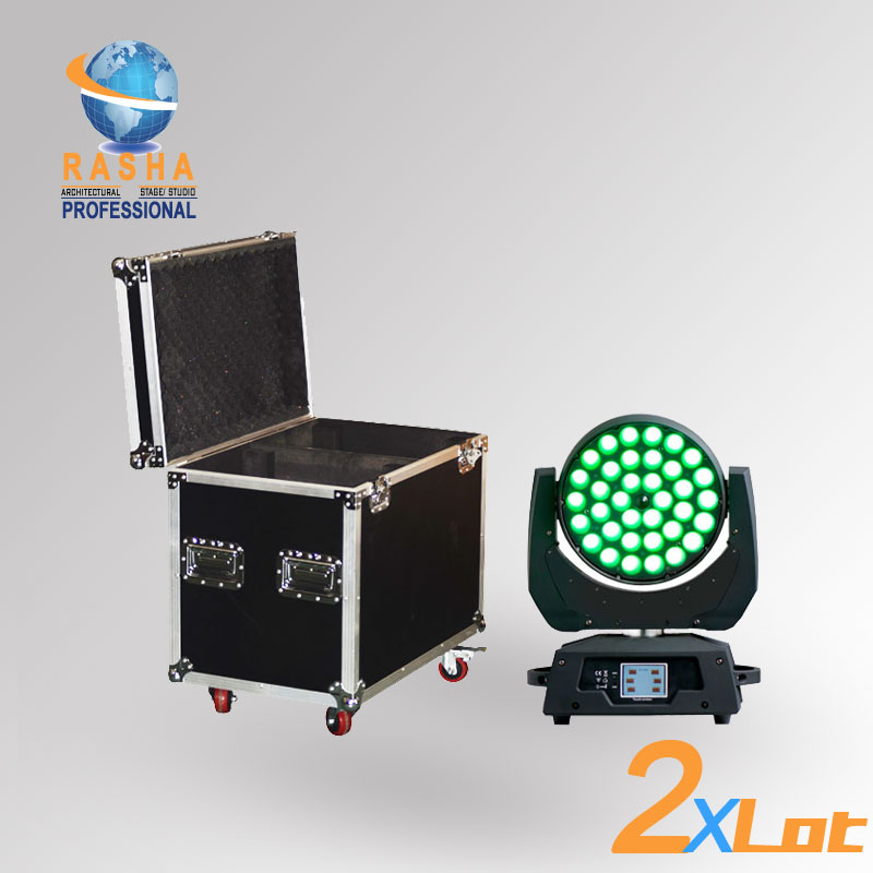 2X LOT Rasha 36pcs*18W 6in1 RGBAW+UV  Zoom LED Moving Head Wash With Touch Screen LCD Diplay,DMX IN&Out  With 2in1 Road Case2X LOT Rasha 36pcs*18W 6in1 RGBAW+UV  Zoom LED Moving Head Wash With Touch Screen LCD Diplay,DMX IN&Out  With 2in1 Road Case