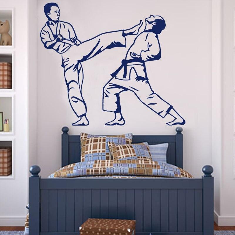 Детская спальня карате удар игра наклейка на стену винил Книги по искусству Настенный декор Стикеры съемный бойцов контур настенная