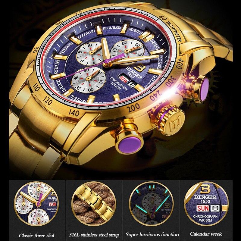 BINGER Relógios Homens Marca De Luxo Safira Ouro 50m Esporte Masculino Relógio Relógio de Quartzo de Aço À Prova D' Água de Negócios erkek kol saati - 3