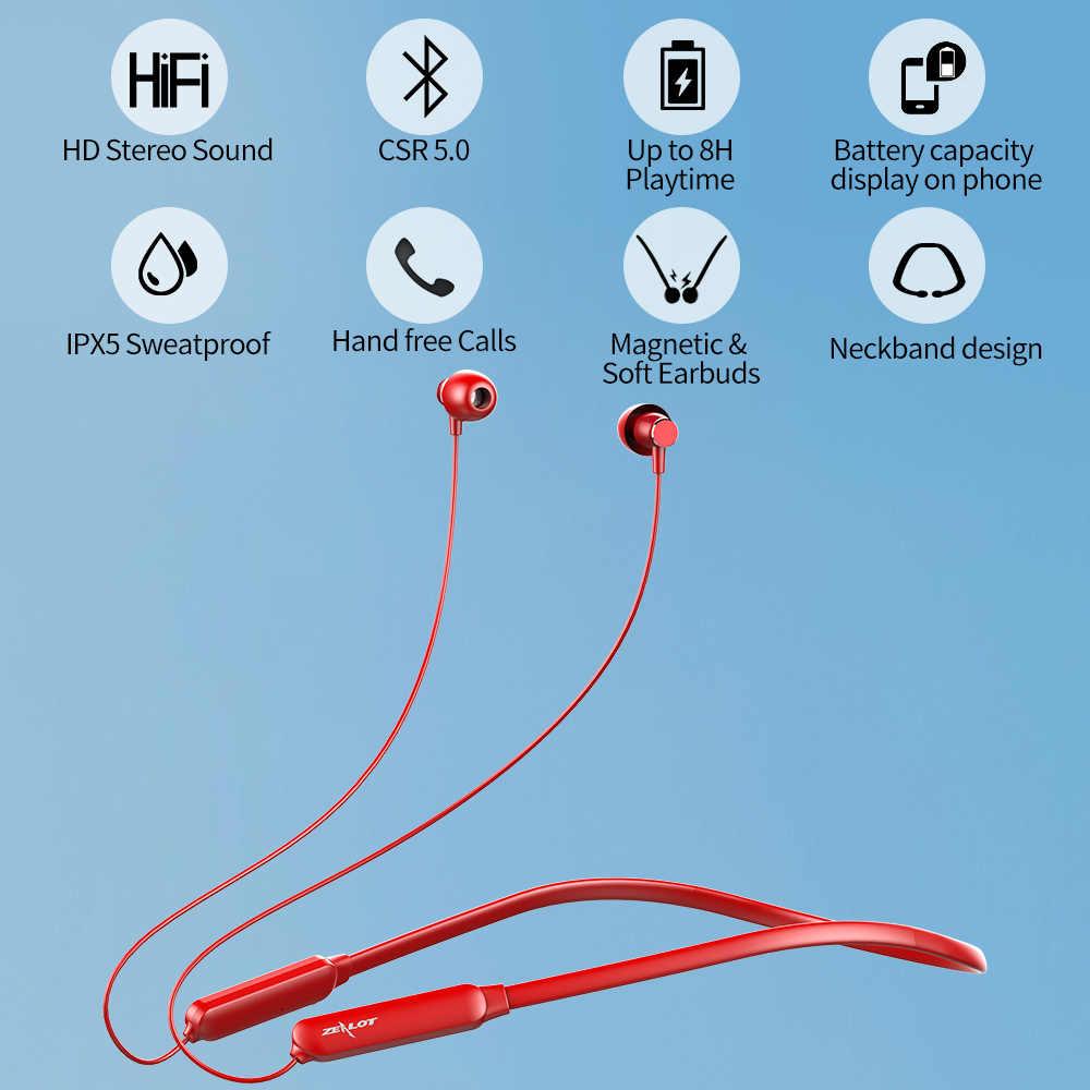Zealot H15 Sport Bluetooth słuchawki na szyję bezprzewodowy zestaw słuchawkowy Stereo IPX5 Sweatproof bluetooth do telefonów aptx słuchawki